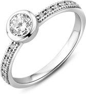 Majestine 925 Zilveren Solitair Ring met Zirkonia maat 56