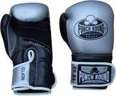 Punch Round Bokshandschoenen Combat Sports Zilver Zwart 6 OZ Bokshandschoenen
