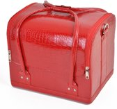 Beauty case, Nagel koffer, Beauty tas, Nagel tas, Make up koffer/tas Croco print ROOD