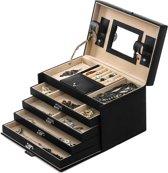 XL Luxe Sieradenbox Met Spiegel - Bijouteriedoos Opbergbox - Juwelen Opbergdoos - PU Leder Zwart