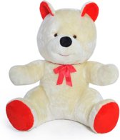Grote knuffelbeer - Teddybeer - wit rood - 120 cm
