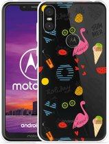 Motorola One Hoesje Summer Flamingo