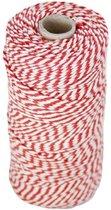 Baktouw, Slagerstouw, Decoratietouw (katoen, rood-wit 100 gram, ca 80 meter)