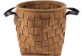 Storage bag felt round brown w. leather handles