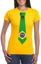 Geel t-shirt met Brazilie vlag stropdas dames XL