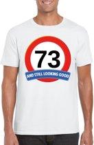 73 jaar and still looking good t-shirt wit - heren - verjaardag shirts 2XL