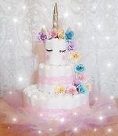 Luiertaart / Pampertaart meisjes 3-laag  met rok en haarband unicorn maat 2 (4-8kg) Kraamcadeau, Babyshower, Geboortecadeau