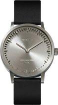 LEFF amsterdam - Horloge - Tube Watch T32 - Staal met Zwart leren band - Ø 32mm - LT74111
