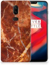 TPU Siliconen Hoesje OnePlus 6 Marmer Bruin