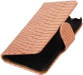 Samsung Galaxy J1 mini (2016) J105F L.Roze | Snake bookstyle / book case/ wallet case Hoes  | WN™