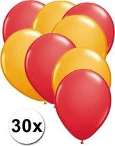 Ballonnen Rood & Oranje 30 stuks 27 cm