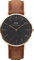 Daniel Wellington Classic Black Durham DW00100126 - Horloge - Leer - Bruin - Ø 40 mm