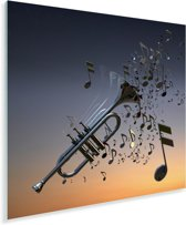 Mooie trompet blaast muzieknoten Plexiglas 50x50 cm - Foto print op Glas (Plexiglas wanddecoratie)