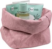 Colibries plume opbergmand Rose + 4 stuks Derma Eco Baby producten - billenzalf babyolie babycrème en babyshampoo - duurzaam - wasbaar papieren - roze