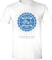 Supernatural - Eat More Pie! Men T-Shirt - Wit - Maat S