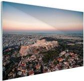 Uitzicht op de Akropolis Glas 30x20 cm - klein - Foto print op Glas (Plexiglas wanddecoratie)