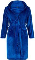 Flanel ochtendjas - kinderen - kobaltblauw - capuchon - maat 164/176