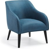 Kave Home Fauteuil Lobby - Met Armleuningen - Stof - Blauw