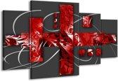 Canvas schilderij Art | Rood, Grijs | 160x90cm 4Luik
