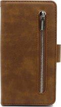 Samsung Galaxy S10E Hoesje - Hoge Kwaliteit Portemonnee Book Case met Rits - Bruin