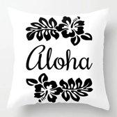 Kussenhoes Aloha Zwart Wit | Sierkussen Vierkant met Rits