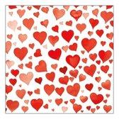 Servetten rode hartjes 20 stuks 33 x 33 cm papier - Papieren wegwerp tafeldecoraties