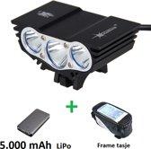 SolarStorm X3 set - USB MTB/race LED koplamp EXTREEM veel licht met 3x CREE T6 LED - met 5.000 mAh LiPo Powerbank en handig frametasje