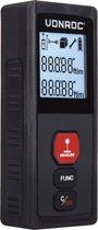 VONROC Laser afstandsmeter – 30 meter bereik – Meet lengte (m1), oppervlakte (m2) en volume (m3)