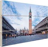 Stadsplein Venetie Hout 120x80 cm - Foto print op Hout (Wanddecoratie)
