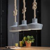 Industriële hanglamp Zara 3-lichts betonlook verstelbaar touw