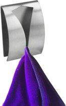 QUVIO Handdoek houder RVS - Handdoek of theedoek klem met plakstrip voor in keuken, badkamer, toilet of bijkeuken - Strak design en geen schroeven nodig - Staal - Klem - Theedoek