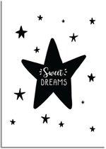 Kinderkamer poster Sweet Dreams DesignClaud - Zwart wit - A3 poster