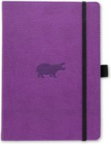 Dingbats A5+ Wildlife Purple Hippo Notebook - Dotted