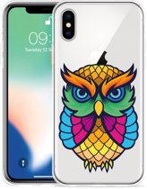 Apple iPhone X Hoesje Colorful Owl Artwork