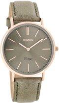 OOZOO Vintage C7374 - Horloge - Leer - Grijs - 40 mm