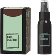 Hair Sculptor Hair Building Fibres Middenbruin + Hair Sculptor Fixing Spray