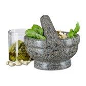relaxdays Vijzel van graniet - natuursteen - mortier - gepolijst - stamper voor kruiden