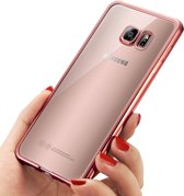 Samsung Galaxy S7 - Electroplating TPU Case Transparant met Rose Gouden Bumper  (Rose Golden Silicone Hoesje)