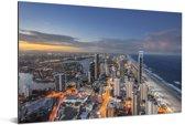 Het bekende Surfers Paradise bij de Gold Coast in Australië Aluminium 180x120 cm - Foto print op Aluminium (metaal wanddecoratie) XXL / Groot formaat!