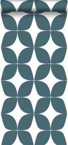 ESTAhome behang grafisch motief vergrijsd donker blauw en wit