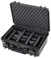 MAX430CAM Waterdichte koffer  zwart met flexibele vakverdeling binnenmaten 42,6 x 29,0 x 15,9 cm