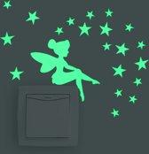 Glow In The Dark Fee / engeltje met sterren kinderkamer decoratie lichtknop nachtlampje muur sticker