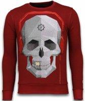 Local Fanatic Skull Beat - Rhinestone Sweater - Bordeaux - Maten: M