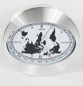 Wandklok índustrieel Aluminium 30cm wereldkaart wit