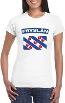 T-shirt met Friese vlag wit dames L