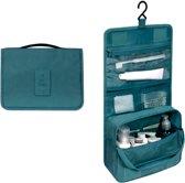 Toilettas met ophanghaak blauw - travel bag hook - make up tas met haak - beauty case