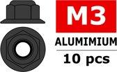 Team Corally - Aluminium zelfborgende zeskantmoer met flens - M3 - Gun Metaal - 10 st
