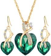 Fashionidea - Mooie goudkleurige ketting met jade groene hanger en oorbellen de Glamour Heart Of Gold Set Green