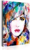 Schilderij - Regenboog dame 1 deel, 2 maten