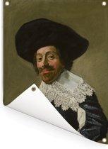 Portret van een man - Schilderij van Frans Hals Tuinposter 30x40 cm - klein - Tuindoek / Buitencanvas / Schilderijen voor buiten (tuin decoratie)